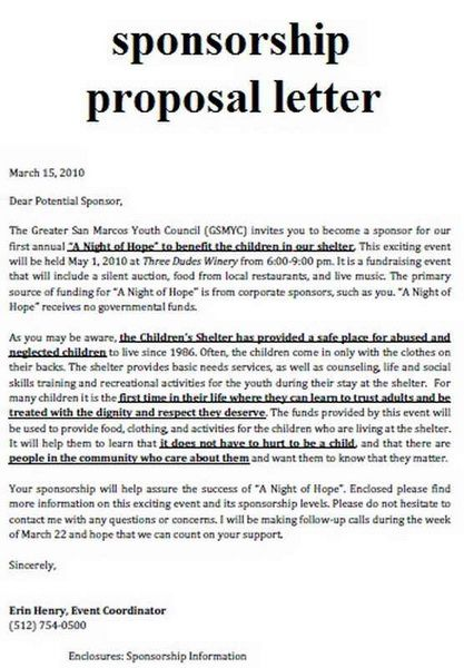 sponsorship proposal letter - Cover Letter For Sponsorship Proposal