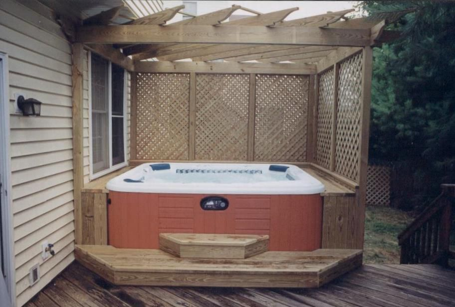 built in hot tub deck yahoo search results ideas pinterest hot tub deck decks and lattices. Black Bedroom Furniture Sets. Home Design Ideas
