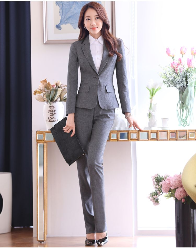 b504c16565a 2016 Winter Formal OL Office Uniform Design Women Pant Suits Blazer 2 piece  Sets Gray Elegant Ladies Business Workwear Clothes   Nice plus size  clothing ...