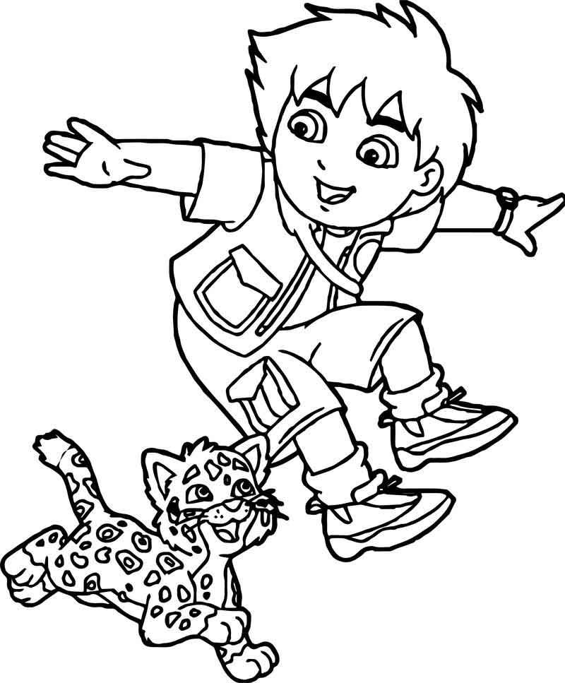 Go Diego Go And Lion Running Coloring Page Coloring Pages Go Diego Go Coloring Sheets For Kids