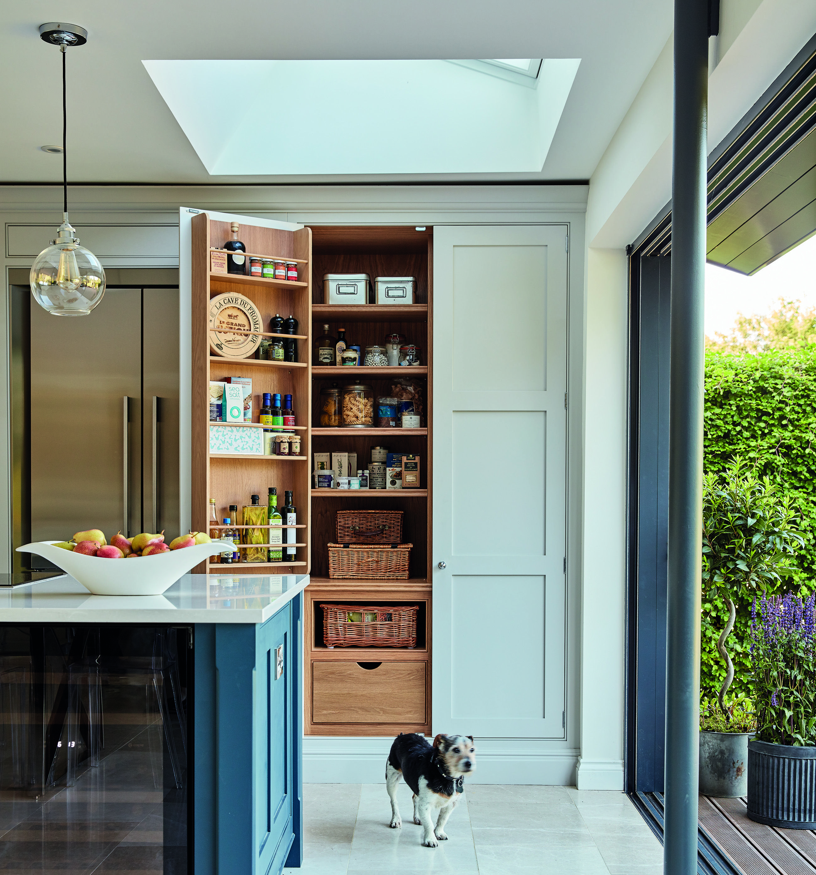 Hidden pantry storage in our Hartford Blue Shaker Kitchen | Kitchen ...
