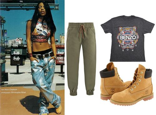 Aaliyah, timberlands, jeans, crop top, 90s fashion, urban ...