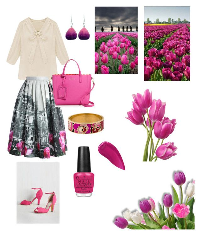 """""""Tulip skirt"""" by thefrugal-fashionista ❤ liked on Polyvore featuring Chelsea Crew, Chicwish, OPI, Kate Spade, NOVICA and Lipstick Queen"""