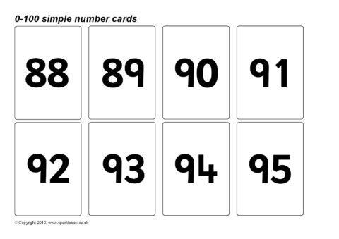 Simple 0 100 Number Cards Sb128 Sparklebox Number Flashcards Printable Flash Cards Free Printable Numbers