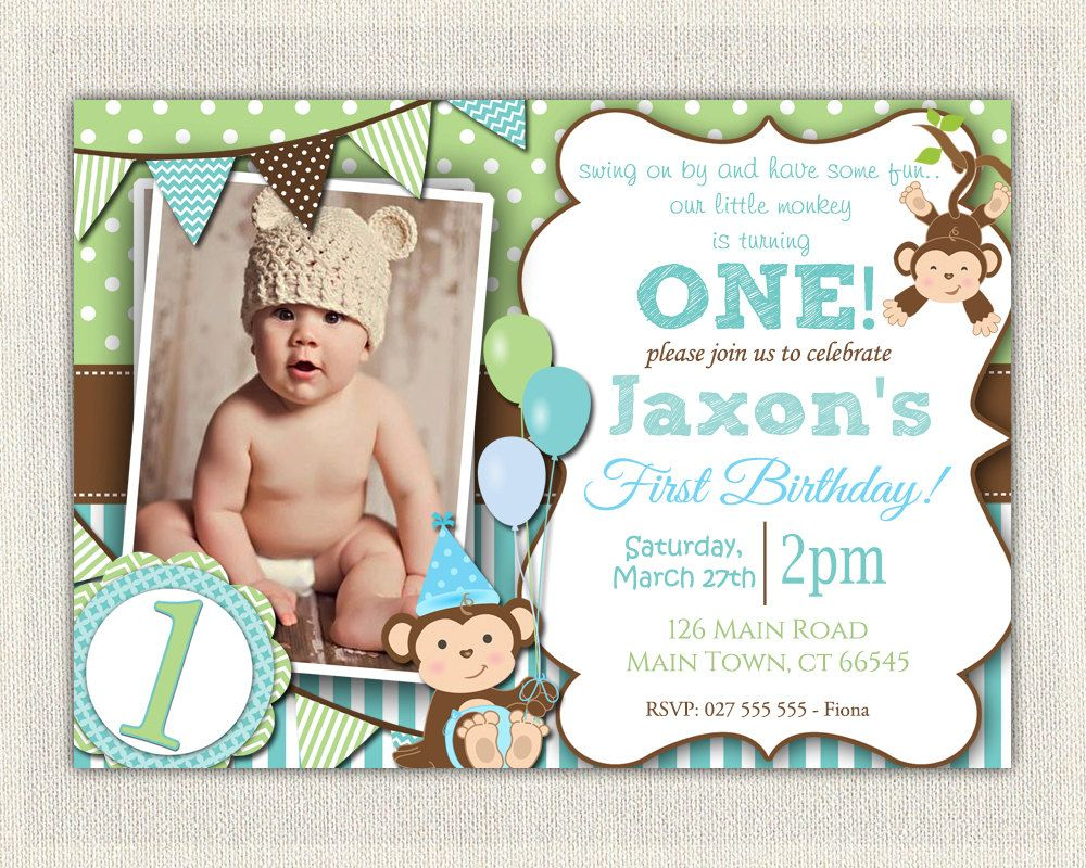 Boys Blue and Green Monkey 1st Birthday by InvitationsByLittleP ...