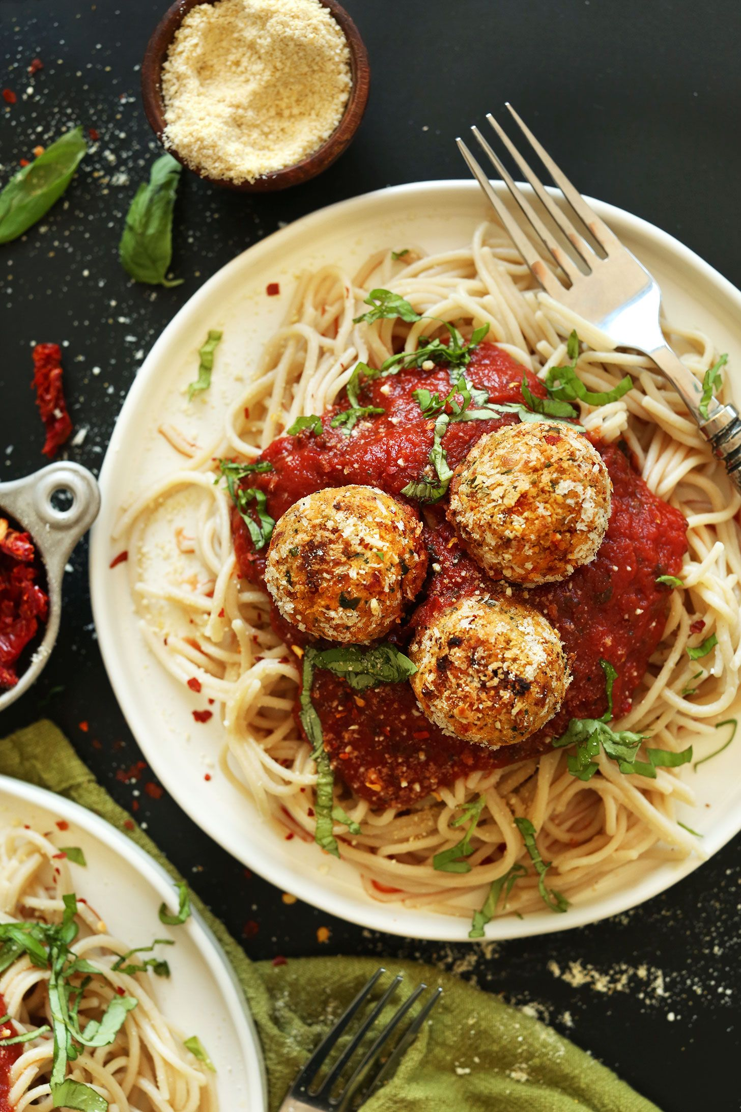 Vegan Sun Dried Tomato Basil Meatballs