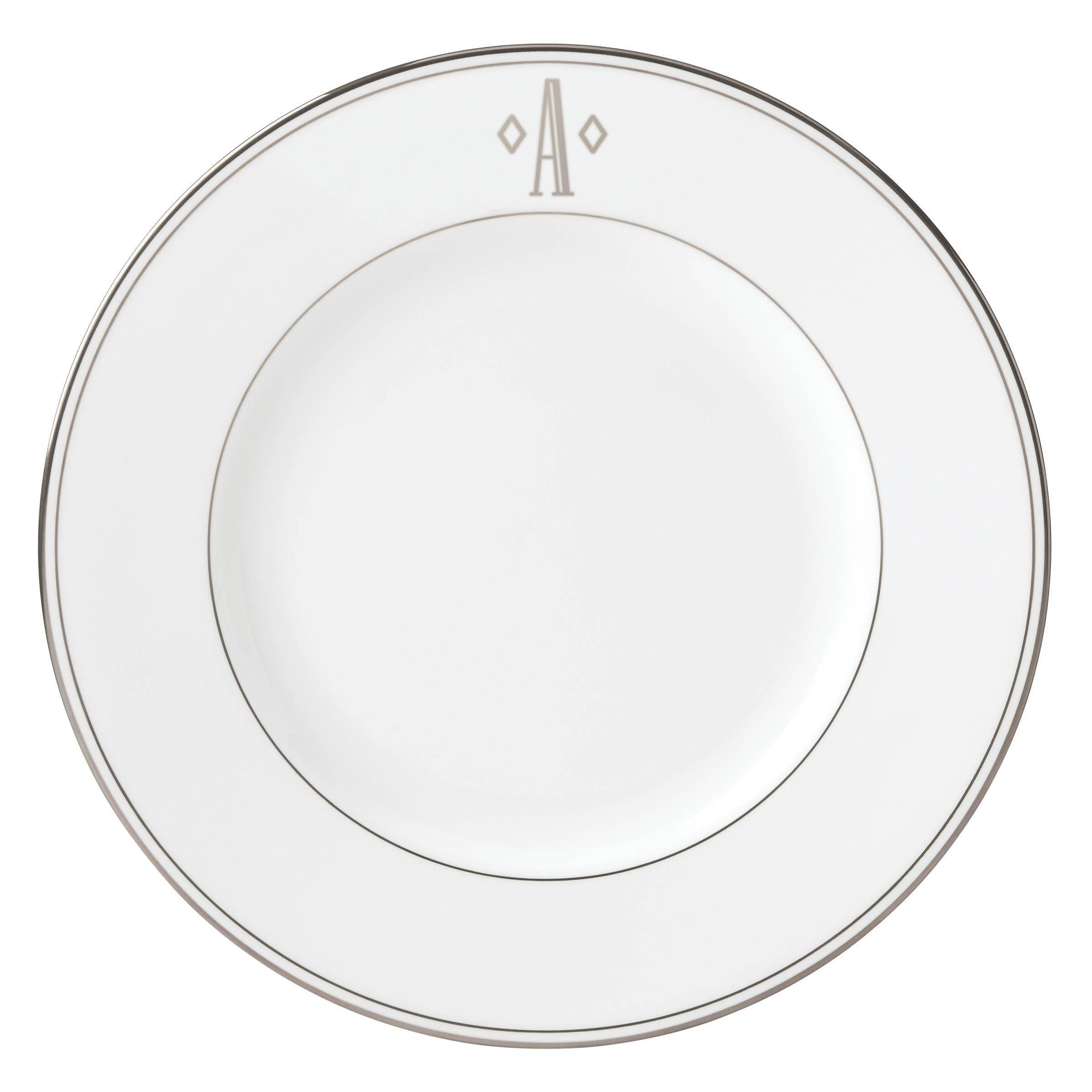 Lenox Federal Platinum Block Monogram Dinner Plate A Silver