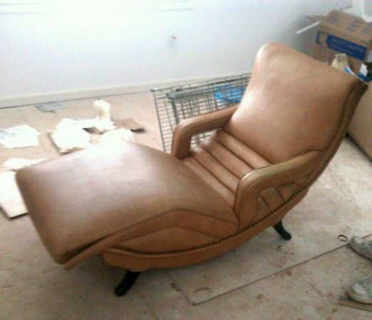 Vintage Brown Leather Reclining Chaise Lounge Chaise Lounge Vintage Brown Chaise