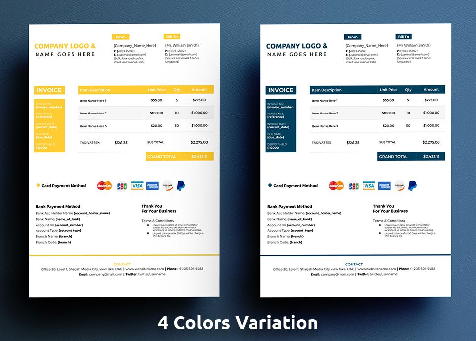 commercial google docs invoice corporate identity template design