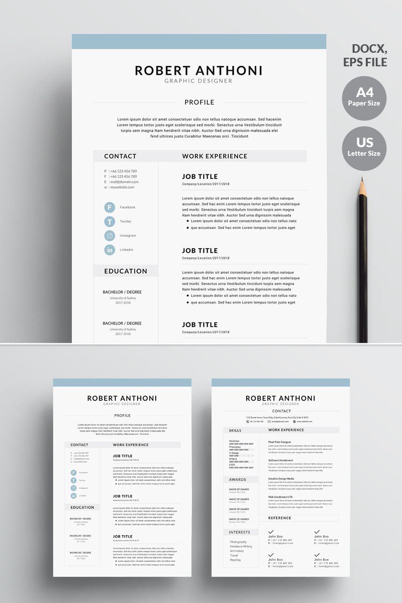 4 Page Professional Clean Resume Template 73825 Clean Resume