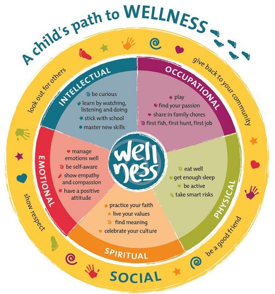 image of a child s path to wellness wheel with key areas of