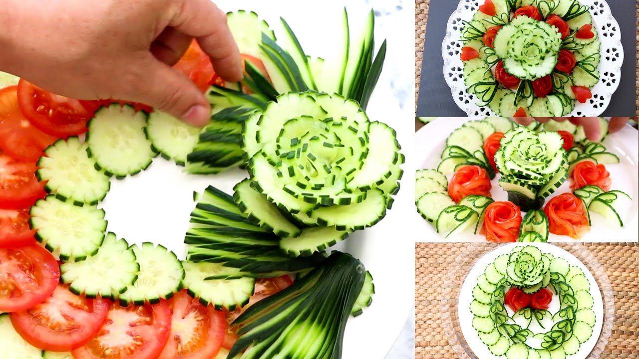 Cucumber Tomato Rose Flower Design Decoration Vegetable