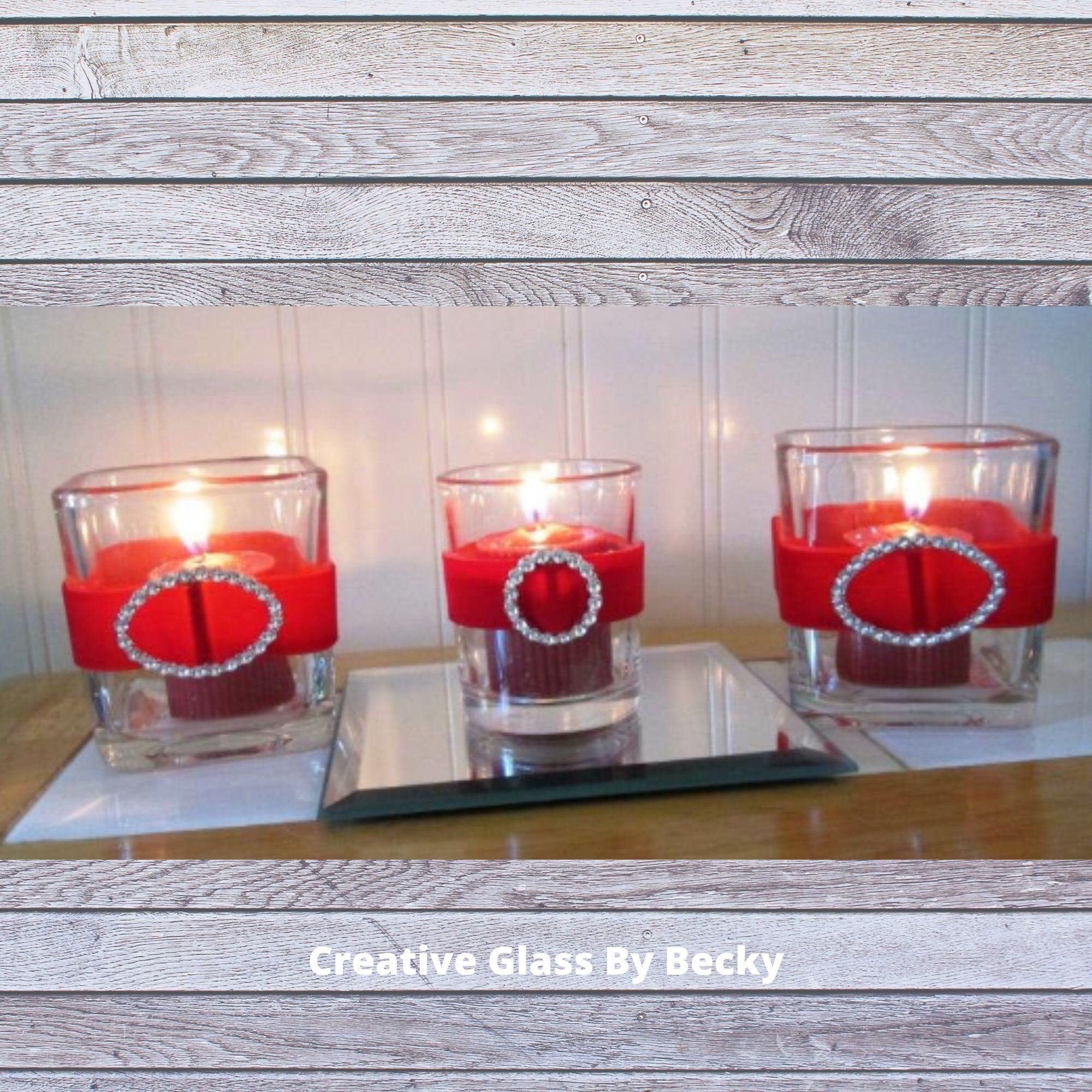With Love Red Glitter Heart Tealight Candles and Glass Holder Set Valentines Day