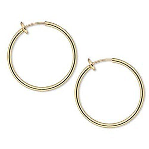 Gold Tone Spring Closure Hoop Earrings Clip On Hoops Bangle 25 Mm 1 Inch Diameter For Unpierced Ears Comfortable Feel Kids