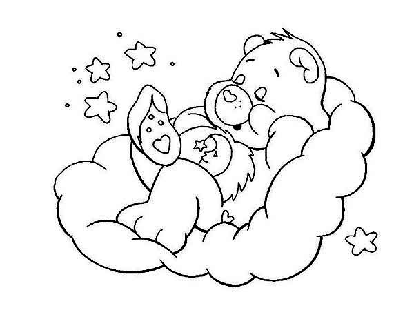 Bedtime Bear Is Sleeping Tight In Care Bear Coloring Page Coloring Sun Natt