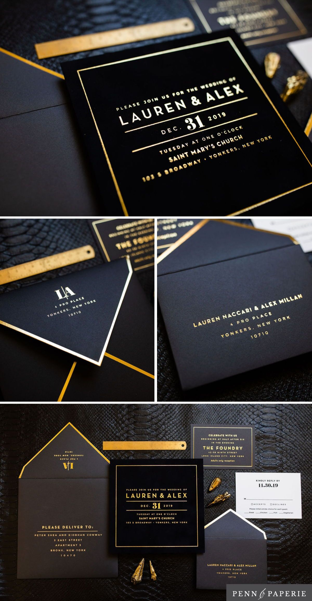 Bespoke Black Wedding Invitation in 2020 | Black wedding invitations,  Classy wedding invitations, Wedding invitations with pictures