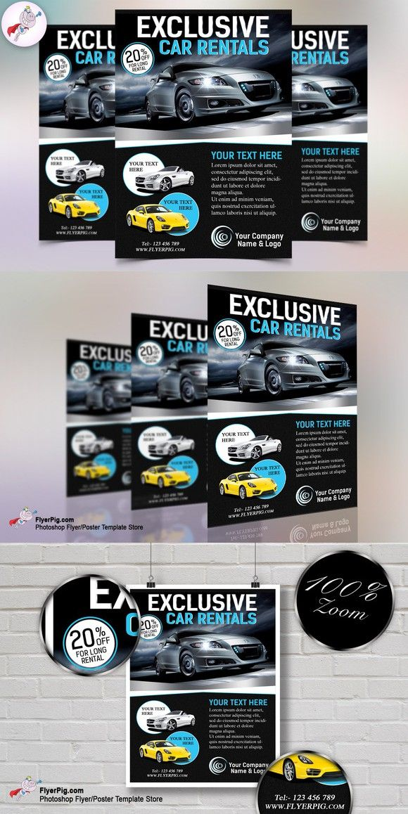 Exclusive Car Rental Flyer Template Flyer template and Template