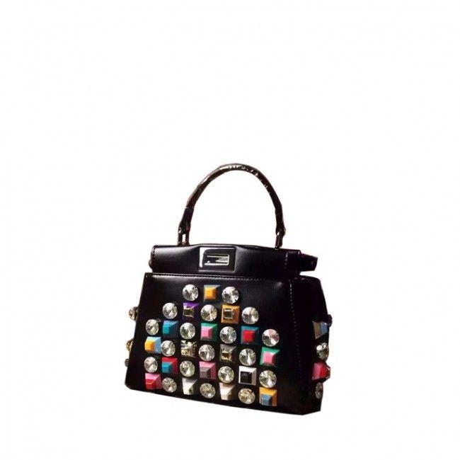 8dd9f5286a Designer brand bags outlet best AAA high qualtiy replica Fendi peekaboo  black leather handbags