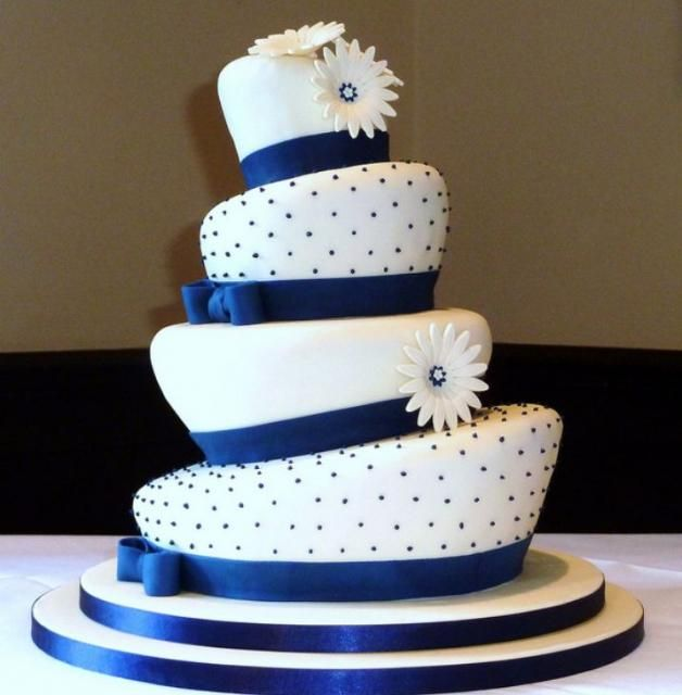 Topsy Turvy 4 Tier Wedding Cake With Blue Bands Bows