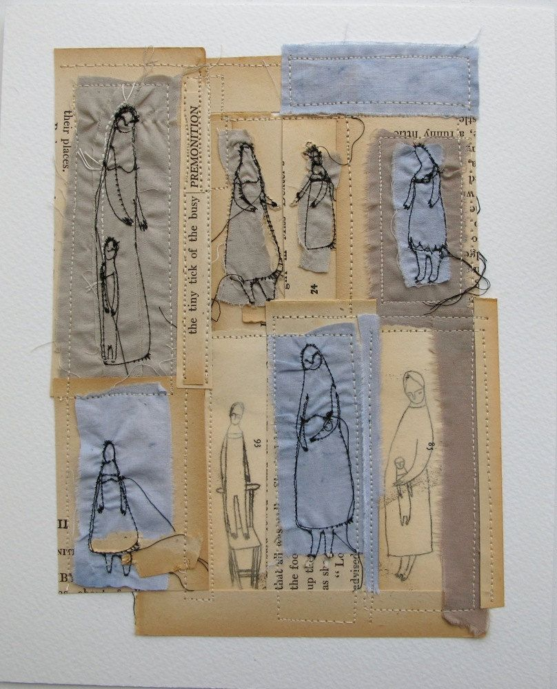 the tiny tick tock of the busy premonition - an original mixed media collage - embroidery artwork
