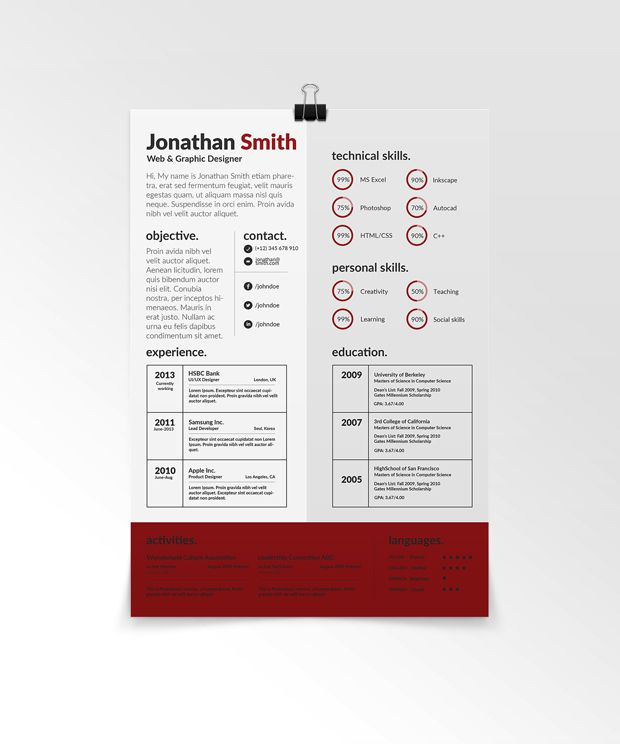creative-resume-template-red Resumes Pinterest Creative resume - cool resume templates free