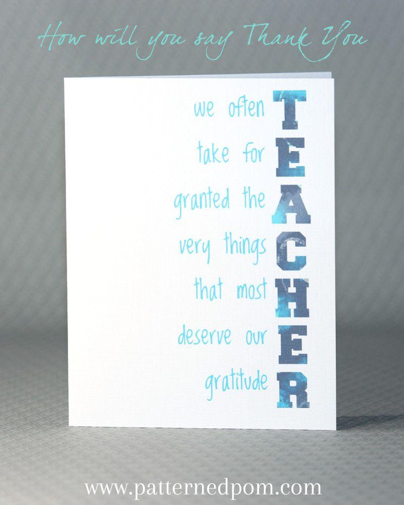 Teachers Do Deserve So Much Gratitude Teacher Appreciation Card