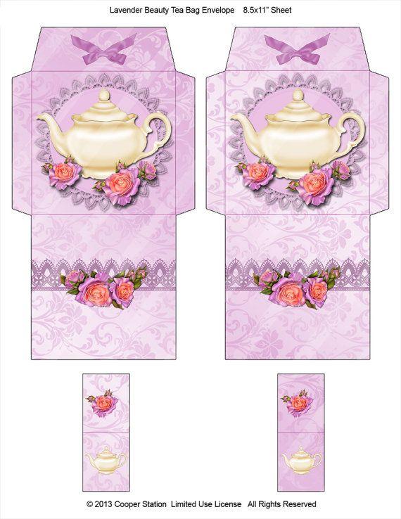 Digital Tea Bag Envelope Lavender by CooperStation on Etsy