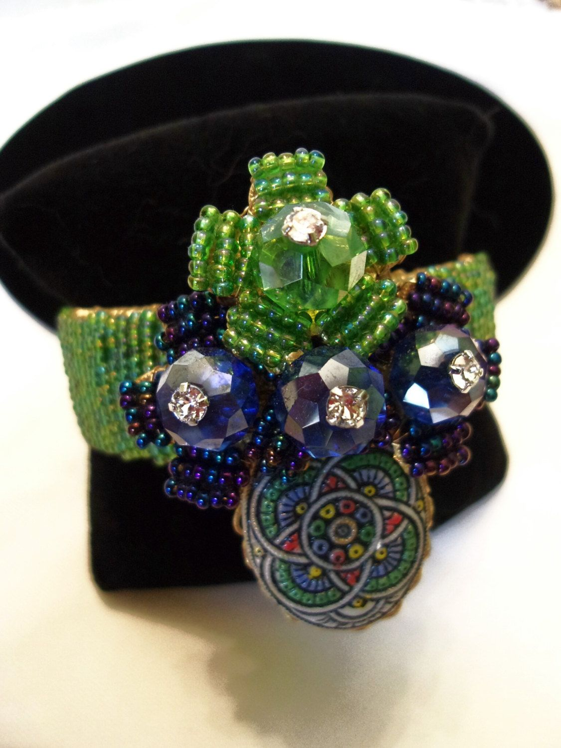 A personal favorite from my Etsy shop https://www.etsy.com/listing/245435391/stanley-hagler-nyc-bracelet-green-blue