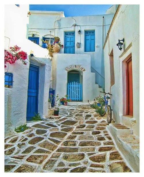 Cobbled pavement in Amorgos island, Greece