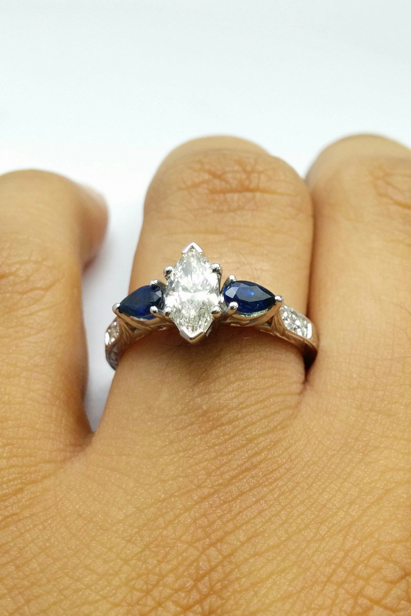 band ring and gold half blue art deco diamond antique wedding rings annivery white topaz eternity marquise