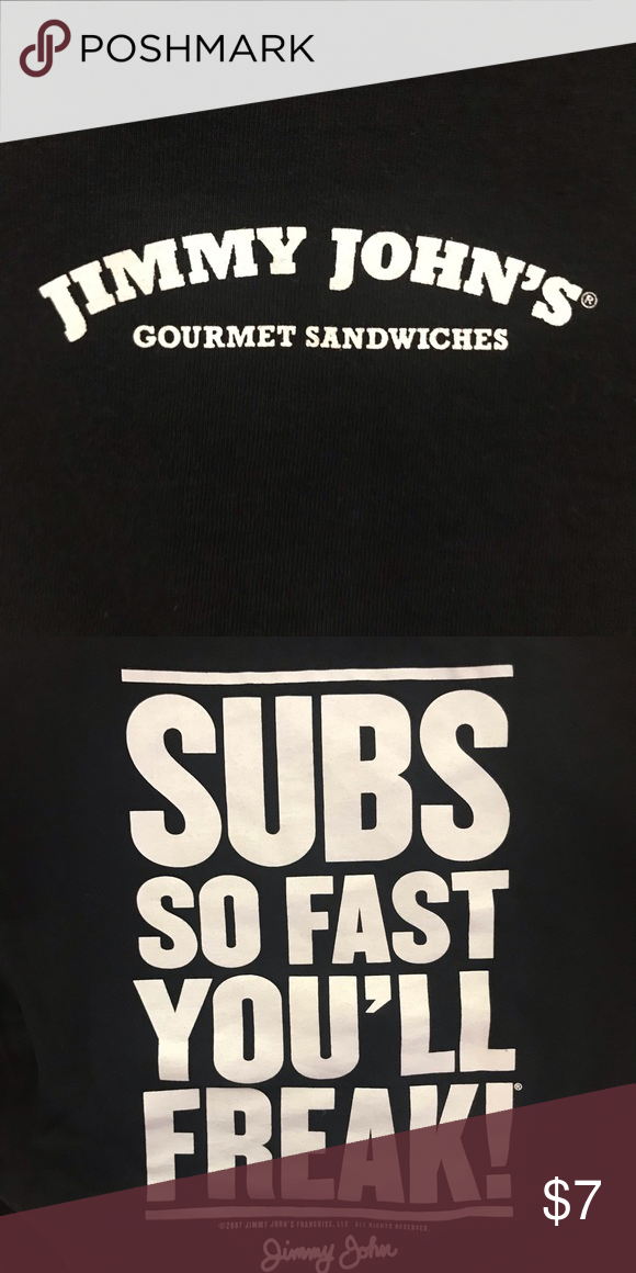 Jimmy John S Tee Jimmy Johns S Tee With Logo On Center Chest And Back Graphic Fruit Of The Loom Shirts Tees Short Sleeve Jimmy Johns Tees The North Face Logo