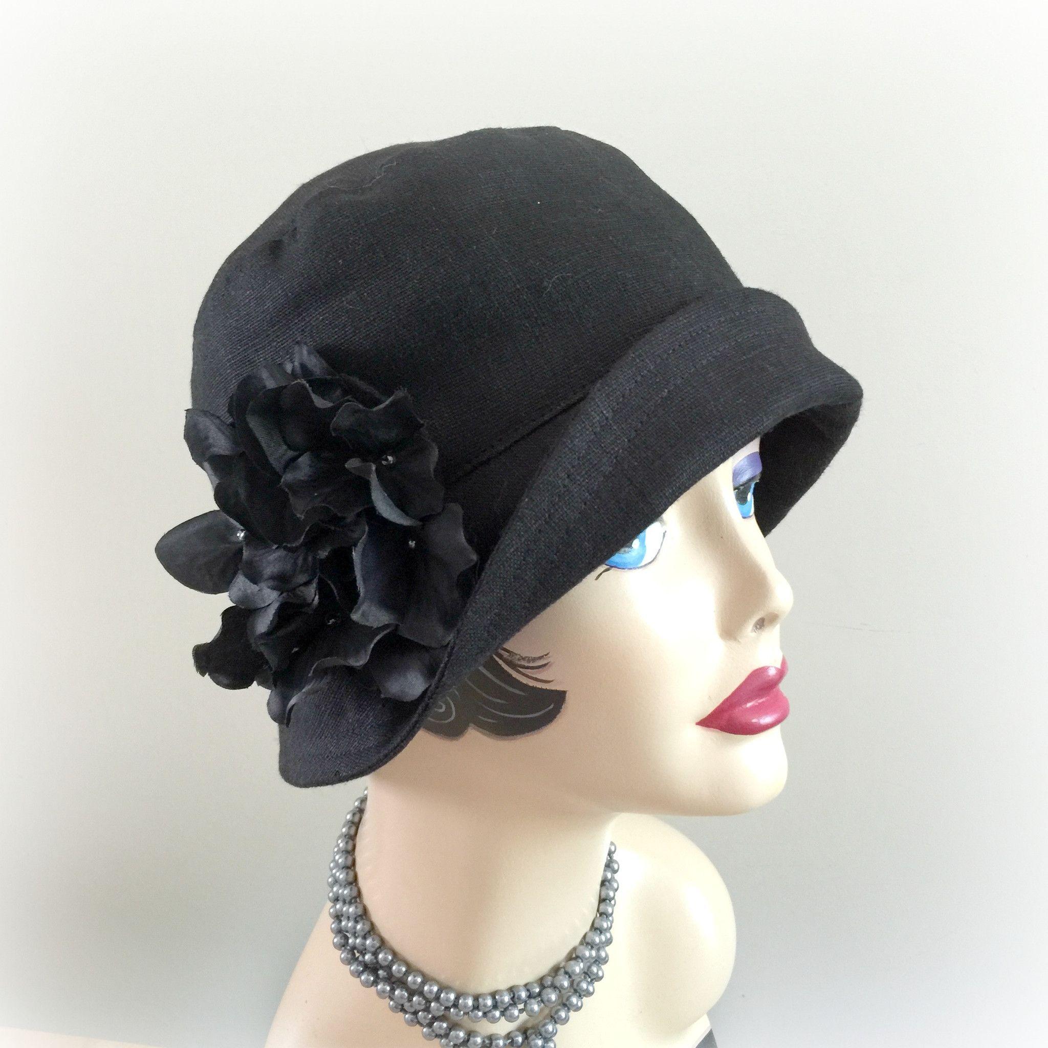 Flapper Style Cloche 1920s Hat Black Linen Eleanor Spring Hats Summer Hats Black Sunhats Hydrangeas Women's Bucket Hat Eleanor Handmade in the USA