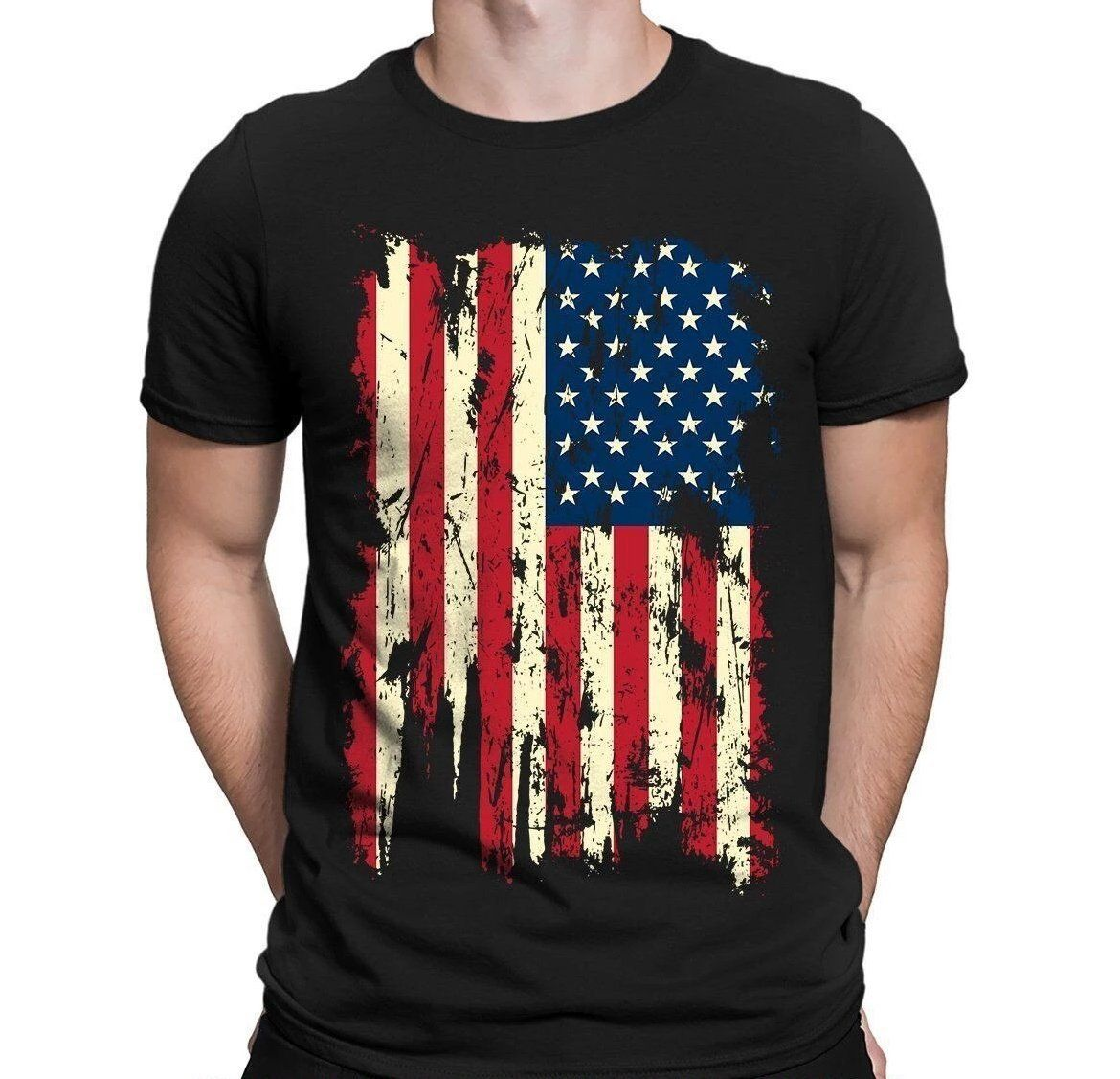 Men S Short Sleeve T Shirt With American Flag Print Colors Black White Gray Blue Navy Red Purple Green D Mens Tshirts Mens Shirts Casual Wear For Men