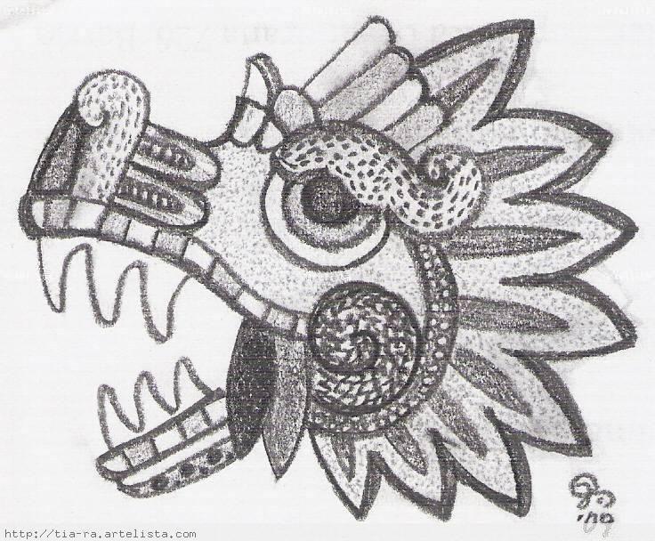 Quetzalcoatl serpiente emplumada dibujo a lapiz  Imagui  Aztecas
