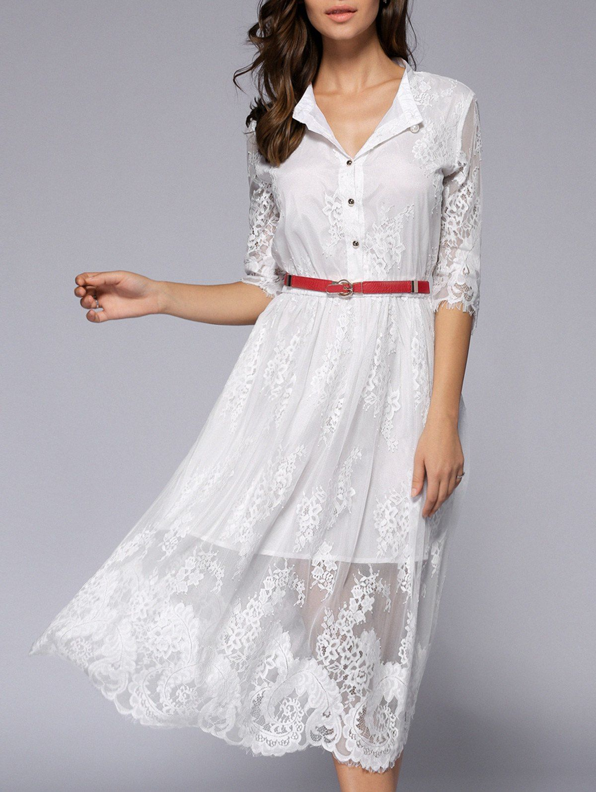 Lacework seethrough button dress diy pinterest dresses lace