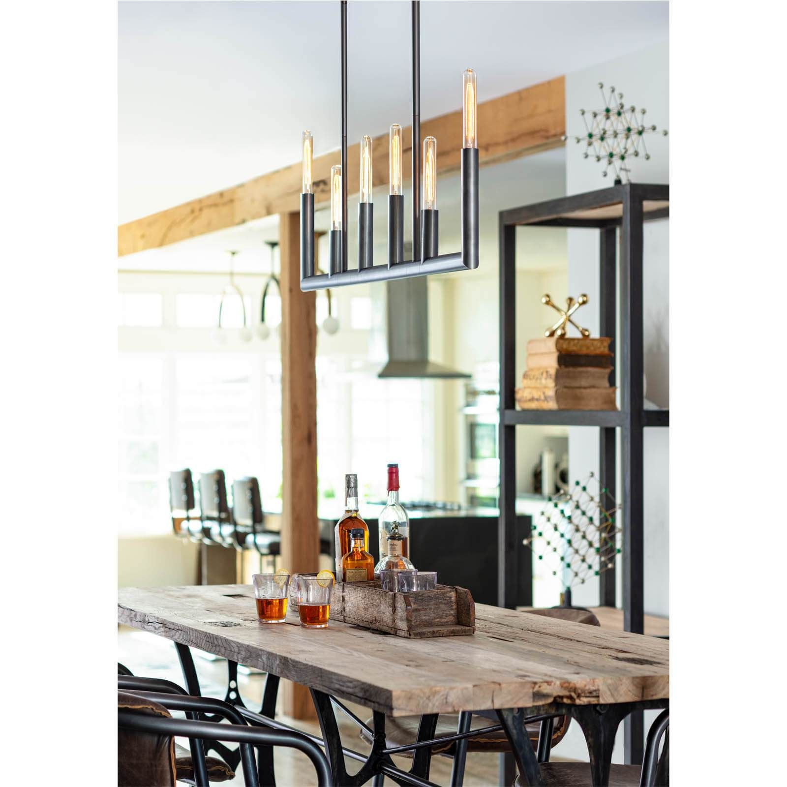 Photo of Wolfe Linear Chandelier – Natural Brass