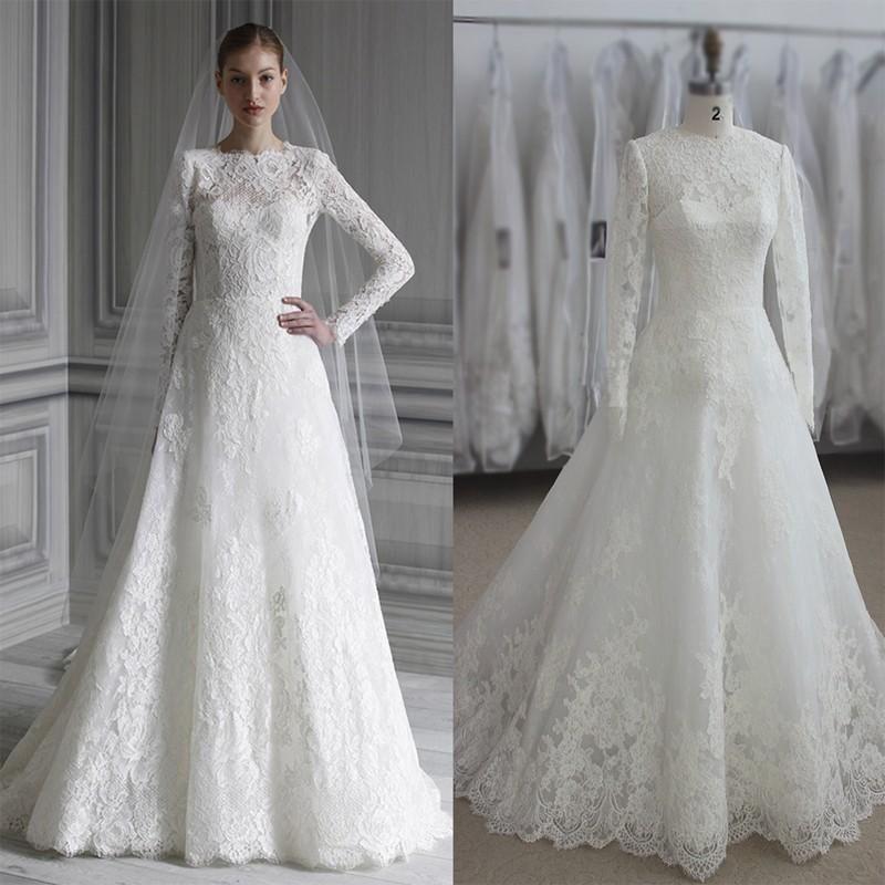 2016 Monique Lhuillier Full Lace Wedding Dresses Real Images Long