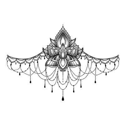Heart Ornament Underboob Tattoo