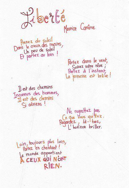 Poesie L Ecole De Maurice Careme : poesie, ecole, maurice, careme, Ifrenchyou, Poème, Liberté,, Maurice, Careme,, Poeme, Citation