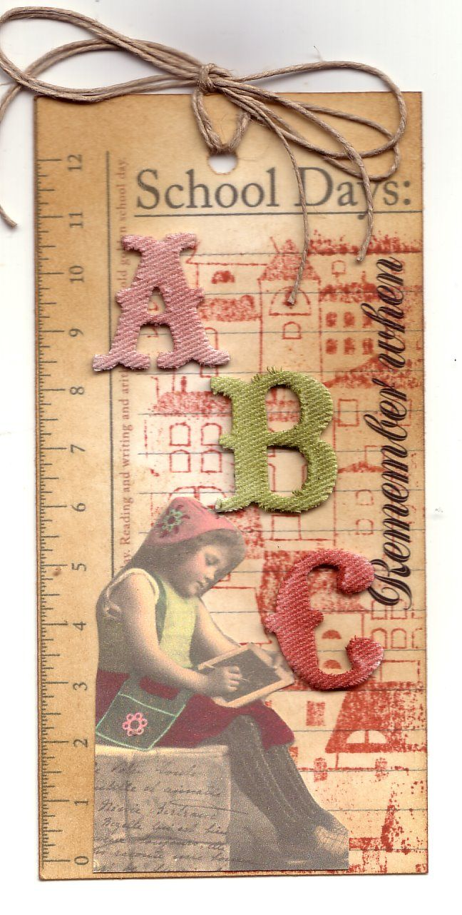 Tag: School Days, ABC, Jacqueline's Craft Nest: Tag tuesday.  3-D letters, twine topper.