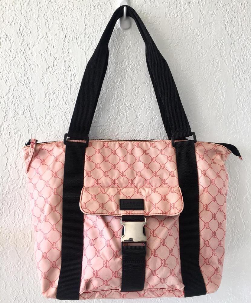 9c7e4d9076 Lauren Ralph Lauren Signature Pink White Black Monogram Nylon Bag Tote Purse