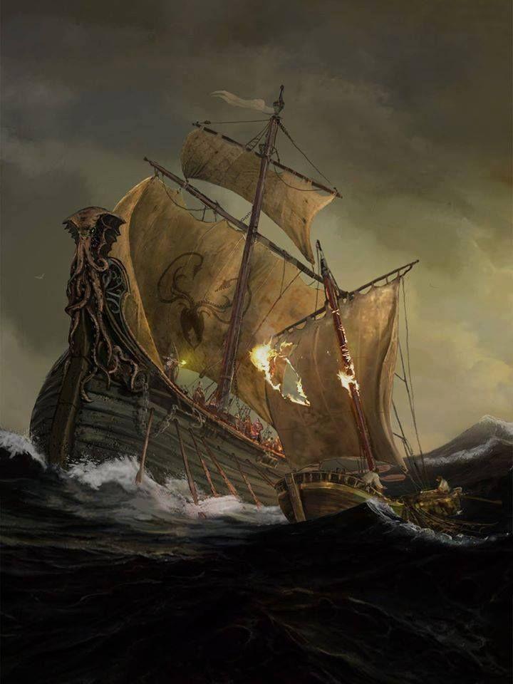 Ironborn raiders - Greyjoy ship by Lincoln Renall. https://www.facebook.com/theartoficeandfire/photos/a.735776879793959.1073741828.735771516461162/924914347546877/?type=1&theater