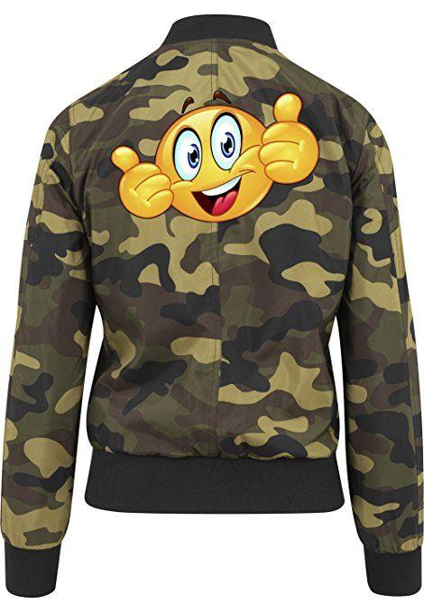 Emoji Smiley One Bomberjacke Girls Camouflage Certified Freak