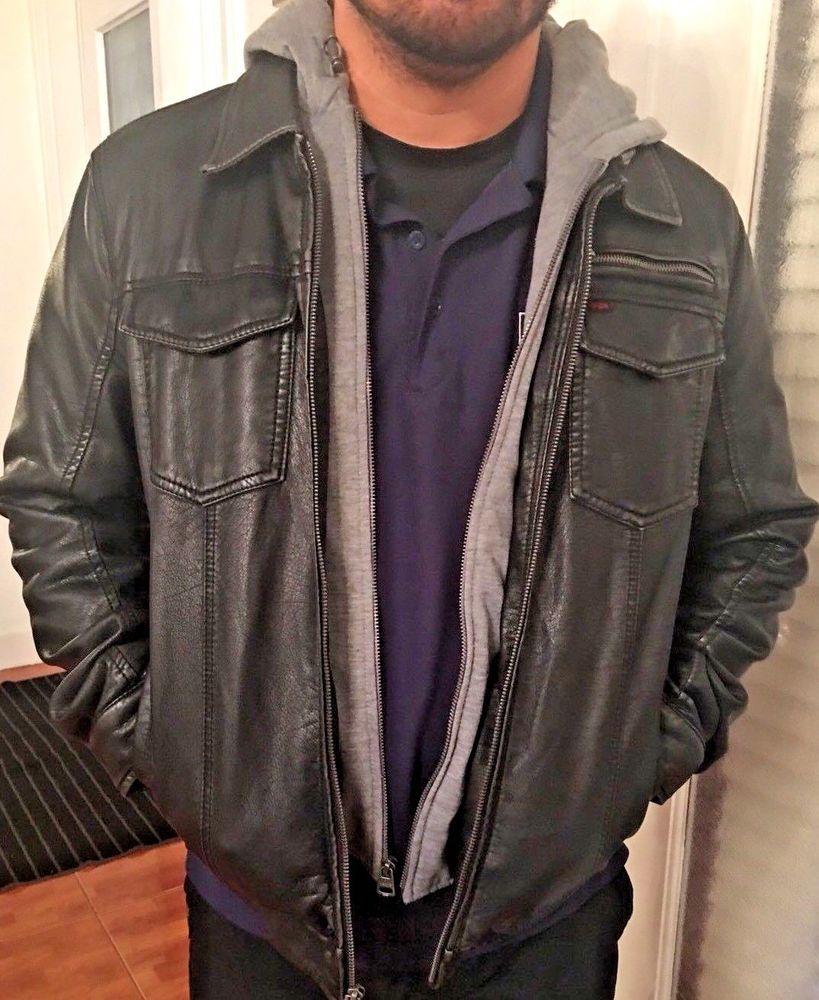Levis Black Faux Leather Men S Jacket Swetshirt Lining And Hood Size M Ebay Leather Men Black Faux Leather Jackets [ 1000 x 819 Pixel ]