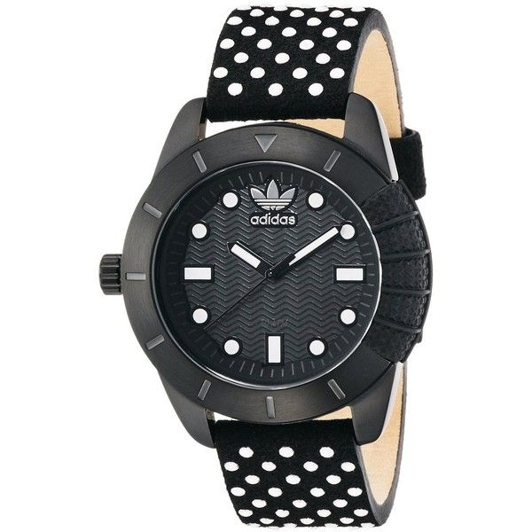 Adidas Women's ADH3053 'adh-1969' Black Leather Watch (13.130 ISK) ❤ liked on Polyvore featuring jewelry, watches, black, leather watches, buckle jewelry, leather wrist watch, leather-strap watches and leather strap watches