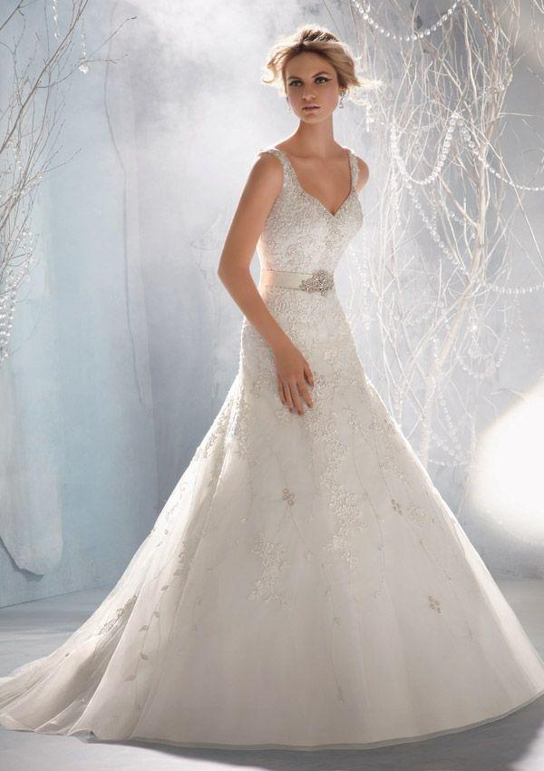 Mori Lee Style 1968 Venice Lace Appliques On Net Edged With Crystal Beading Removable Satin Taffeta Belt W Wedding Dresses Bridal Dresses Wedding Dresses 2014