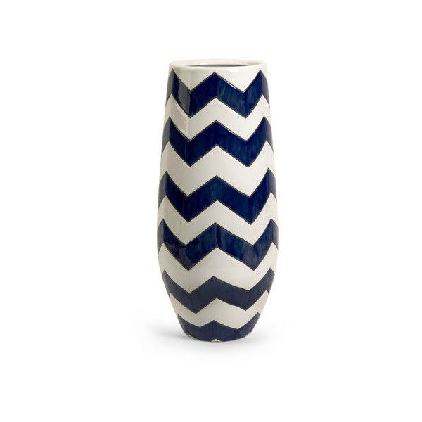 IMAX Home 25102 Chevron Tall Vase Home Decor Vases ($67) ❤ liked on Polyvore featuring home, home decor, vases, accents, blue and white vase, ceramic vase, blue white vase, colored vases and blue and white ceramic vases