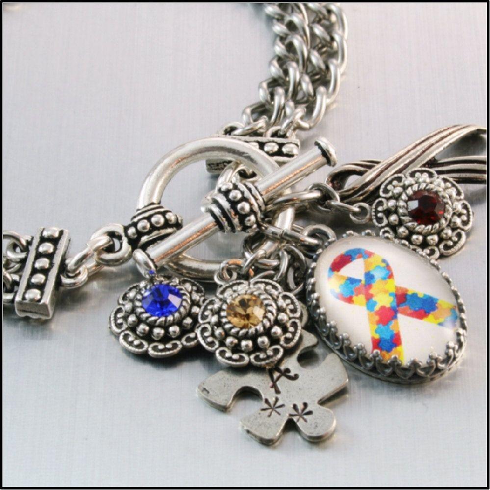 autism awareness charm bracelet autism jewelry. Black Bedroom Furniture Sets. Home Design Ideas