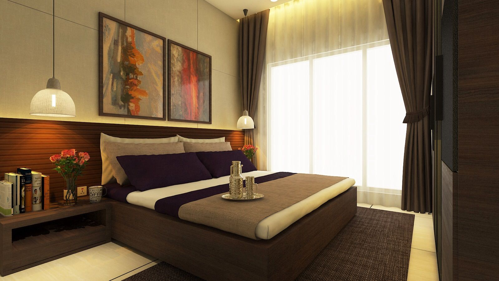 Master bedroom residence sample flat for zara habitats for Sample bedroom designs