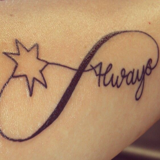 New Tattoo Infinity Symbol The Word Always Due To Love Of Harry Potter South Star For Lo Small Infinity Tattoos Infinity Tattoos Infinity Tattoo For Men